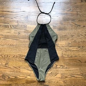 army green and black swimsuit